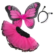 Butterfly Wing Skirt 3pc Set Hot Pink Black